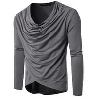 ingrosso camicia drappeggiata-T-shirt con maniche lunghe a maniche lunghe per uomo, primavera e autunno, per uomo taglia S-2XL