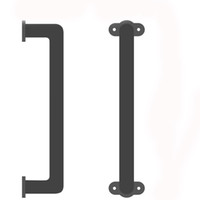 KINMADE Sliding Barn Door Handle Handrail Grab Bar Elegant Iron with Black Finish for Cabinets Closets