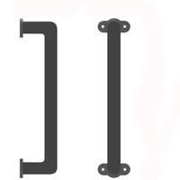 ferro interior venda por atacado-Sólida Ferro Fundido Escorregar Porta Do Celeiro Pull Handle Handle Grab Bar Design Elegante Para Armários Armários Portas De Madeira Interior