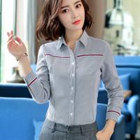 ingrosso le camicie delle signore-2018 Il nuovo modo delle donne a righe di cotone della camicia di temperamento signore formale Affari manica lunga sottile ufficio camicetta più cime dimensioni