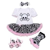 bebek leopar romper tutu toptan satış-Yenidoğan Kız Giyim Seti 4 adet Takım Elbise Set Kafatası Romper Tutu Etek + Kafa Bebek Bebek Leopar Bebek Cadılar Bayramı giysi Bebes