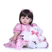 bonecas princess toddler venda por atacado-Bebe reborn criança menina princesa bonecas 58 cm vinil silicone reborn baby dolls com urso de pelúcia crianças brinquedos de presente