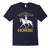 Wholesale Red Horse Riding - Never Underestimate An Old Woman Who Rides A Horse T Shirt