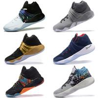 zapatos de baloncesto botas para correr al por mayor-2018 Nuevo Irving 2 zapatos de baloncesto Kyrie Sports para hombre Zapatillas de deporte negras para correr Zapatillas de entrenamiento para correr Zapatillas Runner Camping Senderismo