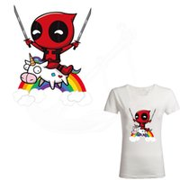 Wholesale T Thermal - Hot Funny Deadpool horse riding iron on patches 26*20.5cm DIY T-shirt jacket Grade-A Thermal transfer stickers