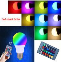 ir ampuller toptan satış-E27 RGB LED Ampul 3 W 5 W 10 W LED Lambalar Spot Akıllı Ampul led ampuller RGB 24Key IR Uzaktan Kumanda Ev Noel Dekorasyon