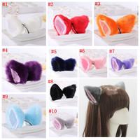 Wholesale animal ear clip resale online - Cute Lovely Animal Cat Fox Long Fur Ears Shape Hair Clip Party Headwear For Women Ladies cosplay colors MMA730