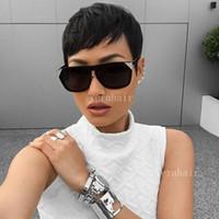 insan dantel bob peruk patlama toptan satış-Kısa bob Siyah Kadınlar Için peruk Kısa Kesim İnsan Saç Peruk brezilyalı Saç Patlama Ile Dantel Peruk İnsan Saç Pixie peruk