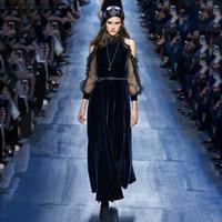 marineblaues kleid samt lang großhandel-2018 Navy Blue Long Sleeves Samt Lange Frauen Kleid Marke gleichen Stil Sheer Lace Maxi Kleid mit Schärpe g03