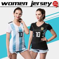 Wholesale Short Females - Argentina women home Soccer Jersey 2018 world cup women Argentina away female soccer shirt 2018 #10 MESSI #21 DYBALA girl Football uniforms