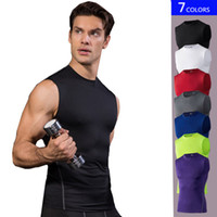 seksi erkek elbiseleri xxl toptan satış-Marka Seksi Basketbol Yelekler erkekler Sıkıştırma Kolsuz T Gömlek Katı Renk Atletik Egzersiz Fitness Salonu Giyim Adam Koşu Yelekler ...