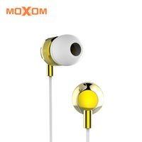 auriculares blancos android al por mayor-MOXOM High Fideli Auriculares internos con micrófono y control de volumen 3.55mm Blanco Negro Para iOS Android MH-11
