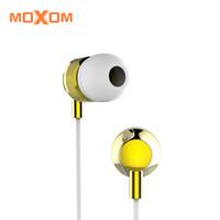 weiße kopfhörer android großhandel-MOXOM High Fideli Professionelle In-Ear-Ohrhörer mit Mikrofon und Lautstärkeregler 3,55 mm Weiß Schwarz Für iOS Android MH-11