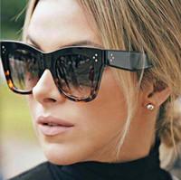 marco floral gafas de sol mujeres al por mayor-Marca de lujo de las mujeres leopardo diseño de impresión Marco ojos de gato del estilo del verano de gran tamaño de calidad superior de las gafas de sol del verano del estilo de moda Revestimiento de la lente