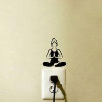 decalques de parede de ioga e vinil venda por atacado-Moda Yoga Meditação Adesivos de Parede de Vinil Interruptor de Luz Adesivos 5WS1007