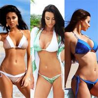 bikini de dos piezas push up padding al por mayor-Mujer Traje de Baño Vendaje Lady Swimwear Lentejuelas Femme Bikini Conjunto Trajes de Dos Piezas Push Up Sujetador Acolchado Baño 21om V