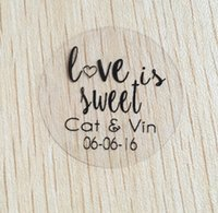 Wholesale Sticker Text - Wholesale-90pcs 3cm custom Personalized clear Wedding love is sweet Invitation Envelope Seal Stickers white text label