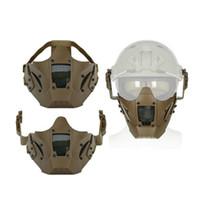 airsoft için yüz maskeleri toptan satış-Airsoft Taktik Yarım Yüz Maskesi Paintball Aksesuarları Koruyucu Kayak Maskeleri Açık Spor Kask Parçaları Mix Renk Ile 48lm jj