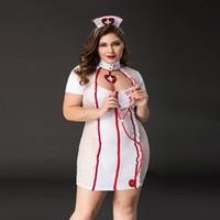 ropa interior de talla grande de alta calidad al por mayor-Alta calidad de gran tamaño de Halloween enfermera mujeres Cosplay disfraces uniforme de la enfermera más tamaño juego de rol erótico muñeca bebé lencería