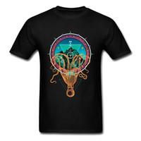 bild natürlich großhandel-Krake, die Berg-Mandala-Bild-T-Shirt hält Mens-natürliche BaumwollRundkragen-junges T-Shirt normales T-Shirt Qualitäts-Sweatshirt