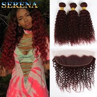Wholesale 99j curly weave online - Red Hair Extensions j Deep Curly Virgin hair Malaysian Curly Human Hair Weave Bundles With x4 Ear to Ear Frontal Lace Closure