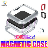 Wholesale metal case watches resale online - For Apple Watch Series Magnetic Adsorption Bumper Case for iWatch Case mm mm Ultra Slim Lightweight Metal Frame Cover for New