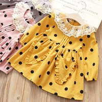 Wholesale Sweet Lovely Girls - Everweekend Lovely Kids Girls New Spring Dots Sweet Dress Children Girls Print Korean Princess Lace Collar Dress