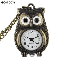 Wholesale Necklace Small Pocket Watches - Lovey Cute Small Dial Owl Watch Women Mens Quartz Bronze Mini Owl Pocket Watch With Necklace Chain Girl' Boys Best Gifts