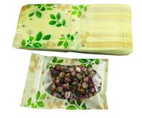 plastik yeşil paket toptan satış-Yeni Yeşil baskı güzel plastik torba Kilitli gıda saklama çantası Plastik ambalaj çantası Fermuar Aperatifler çanta Ücretsiz kargo