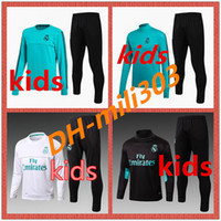 Wholesale Black Red Pants - Top quality 2017 2018 Real Madrid kids Football jacket chandal tracksuit 17 18 RONALDO ASENSIO de foot ISCO youth jacket pants Training suit