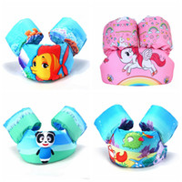 Wholesale ring jackets - Baby Animal print Swimming Arm Ring Floating Inflatable Sleeves Safety airbags cartoon unicorn life jacket free shipping