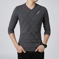 özel gömlekler toptan satış-Moda Erkekler T-shirt Slim Fit Özel T-shirt Kırışıklığı Tasarım Uzun Şık Lüks V Boyun Spor T-shirt Tee Gömlek Homme