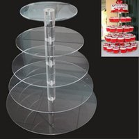 Wholesale decorations for shops - Round Clear Acrylic 5 Tier Cupcake Dessert Display For Birthday Wedding Party Cake Shop Decoration ZA5610