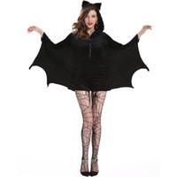 batman encapuchado al por mayor-2018 Mujeres de Halloween Traje de Cosplay del Bat del vampiro Mujeres Hoodies Batman Jumpsuit Party Fancy Hooded Rompers para Adultos M-4XL