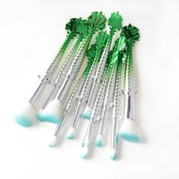 Wholesale makeup kit products - New Product Cosmetic Fortune Fishes Brushes Peak Green Matching Silver Color Handle Synthetic Makeup 10pcs set Brush Free Shipping DHL