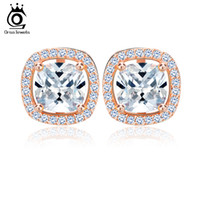 Wholesale Nickel Free Stud - ORSA JEWELS 1ct Cushion Cut Multi Color CZ Crystal Stud Earrings for Girls Fashion Nickel Free Jewelry OEE149