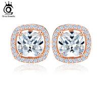 Wholesale nickel free jewelry earrings - ORSA JEWELS 1ct Cushion Cut Multi Color CZ Crystal Stud Earrings for Girls Fashion Nickel Free Jewelry OEE149