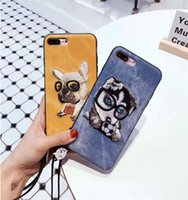 Para iphone7 Case Dog Bordado Pattern Cell Phone Defender Cover para iPhone 8 7 Plus 6 Samsung S8 Plus OPPO R11