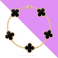 Wholesale Gold Black Onyx Bracelets - luxury brand White shell Black Onyx malachite five flower Clover Bracelets 18K gold Fine Jewelry 925 sterling silver Bracelet for women