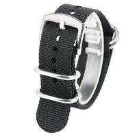 yay mm toptan satış-20 MM / 22 MM / 24 MM Yüksek Kalite Tuval Siyah Watch Band Kayışı Kol Bandı Ile 2 Bahar Barlar