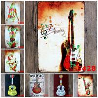 posters guitarras al por mayor-Violoncello Horn Metal Signs Love Guitarra Y Música Retro Poster Vintage Art Painting For Home Bar Café Pub Decoración de Pared YN051 Y18102409