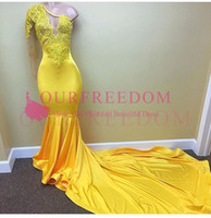 Wholesale party dress 18 - 2018 Sexy One Sleeve Yellow Prom Dresses Appliques Mermaid Formal Evening Occasion Dresses For 2K 17 18 Party Gowns Custom Made