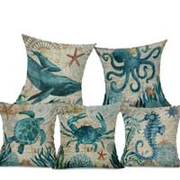 travesseiros de oceano venda por atacado-Tartaruga marinha Impresso Capa de Almofada Octopus Hippocampus Ocean Início Decorativa Fronha Nordic Simples Travesseiro Da Marca