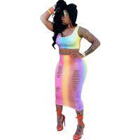 womens sleeveless crop top al por mayor-Rainbow, dos piezas, vestidos, sin mangas, sin mangas, camiseta sin mangas y conjunto de falda, fiesta de verano, bodycon dress ahueca hacia fuera sexy vestidos midi