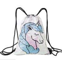 Wholesale travel sports for sale - Mermaid Sequins Backpack Unicorn Sequin Drawstring Bag Reversible Outdoor Backpack Sports Shoulder Bag Travel Bag SK