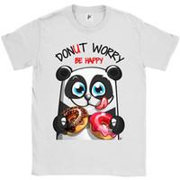 pandas felizes venda por atacado-Donut Worry Be Happy Panda Sorridente com Donuts Mens Imprimir Camiseta Verão Estilo Quente Personalizar Camisetas