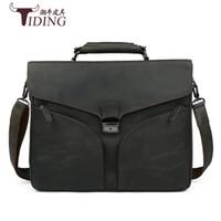 tiding leather bag men 2018 - Genuine Leather TIDING Retro Crazy Horse Leather Men Messenger Bag Handbag Shoulder Bag Business 15.6 Inch Laptop Briefcase 2016
