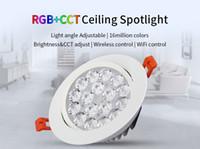 Wholesale rgb color temperature - Milight FUT062 9W RGB+CCT LED Ceiling Spotlight Color temperature Brightness adjustable wireless wifi control LED downlight