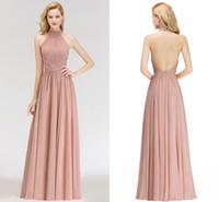 diseñador vestidos reales fotos al por mayor-Fotos reales Dusty Pink 2019 Nuevos vestidos de dama de honor baratos del diseñador Halter Neck Backless longitud del piso de la dama de honor vestidos BM0043