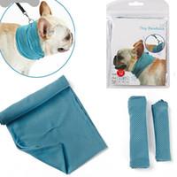 bufanda de perro azul al por mayor-Toalla de enfriamiento de hielo Bandana para mascotas perro gato bufanda de verano transpirable toalla de refrigeración Wrap Blue Arcos Accesorios en paquete de la bolsa al por menor WX9-740